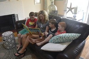 Coronado mom Micca Bucey reads to her three sons, Will, Carson and Cooper.
