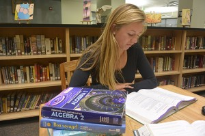 Coronado High School junior Hannah Downey studies in the school library.