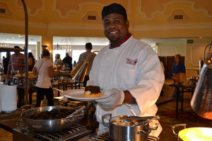 Chefs man eight of the 12 buffet station at the Hotel del Coronado brunch.