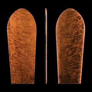 Traditional Hawaiian omo, used as a bellyboard or kneeboard, 2013. Collection of Larry Fuller.