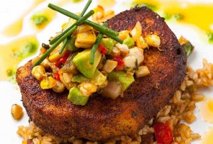 Blackened Pacific swordfish