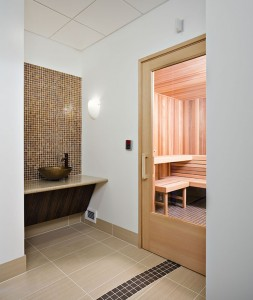 A dry sauna along with men's and women's locker rooms and showers are among the amenities at the Sewall Healthy Living Center.