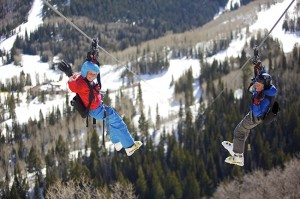 You can go ziplining in the snow at Canyons Resort.