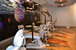 The outer-space themed exam room at Coronado Pediatric Dentistry