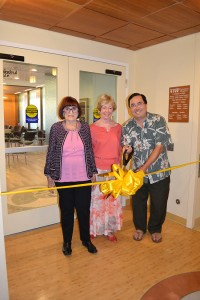 Donors Mary Sandermann and Carol Somer joined Mayor Casey Tanaka at the April 30 Ribbon Cutting of Mindful Café's grand opening.