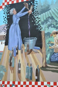 "A segment of the ""Lompoc Vintage"" mural by artist Colleen Goodwin Chronister depicts the community's early days as a temperance colony."
