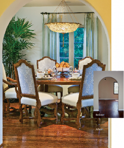 A dining room takes on a special glow with the addition of a Fortuny lighting fixture, Baker furnishings and a new floor treatment, all part of staging services provided by Jackman Realty.