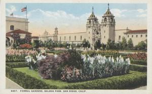 Early postcards depicted Balboa Park's formal gardens.