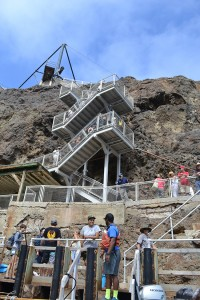 Passengers access West Anacapa Island via cliffside stairs