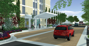 "The hospital's main entrance on Prospect Place will be more clearly defined through installation of a portico and ""living garden"" accent wall, plus additional sculptural features and enhanced landscaping.  A turnout will allow more convenient passenger drop-off and access to the hospital's complimentary valet service."