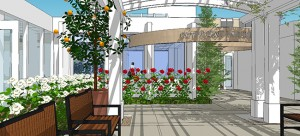 A garden terrace entrance to the Payne Family Outpatient Pavilion will feature arbors, citrus trees and roses.