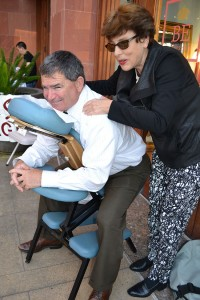 Bill Sandke enjoys a chair massage, courtesy of Jan Bardot.