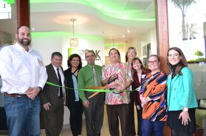 Chamber of Commerce members and City Council representatives help cut the ribbon on Peak Health Group's grand opening. From left, Matt Pontes, City Councilman Bill Sandke, Katee Yassini Afshar, DDS, Patrick Yassini, MD, Mayor Casey Tanaka, Sue Gillingham, City Councilwoman Carrie Downey, Suzanne Lewis, Megan Pontes.