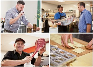 Clockwise from top left:  Greg Majors, beverage director, Blue Bridge Hospitality; Fishmonger Dan Nattrass of FishBone Kitchen shows David Spatafore a recent catch; handmade ravioli at Pasta Design; Tommy Battaglia,owner, Liberty Meat Shop shows off his chops.