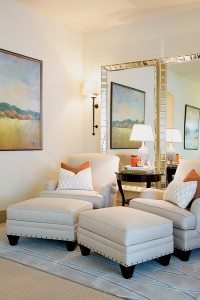 Accessories, lighting and furniture come together in a well-styled room by J Hill Interiors.