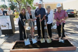 Mike and Linda Dorn (center with gold shovels) are joined by (from left) Coronado Councilmember Carrie Downey, Sharp Coronado CEO Susan Stone and Mayor Casey Tanaka  at the  groundbreaking of Sharp Coronado Hospital's entrance redesign, which was funded by the Dorns.