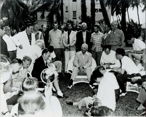 President Truman was quite at home and jovial when speaking with the press corps – nearly all men in the early 1950s. On each visit to Key West, he was accompanied by about three dozen members of the press corps.