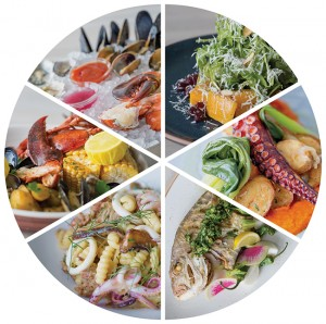 Clockwise from top right: roasted squash salad; crispy octopus; whole snapper; calamari cavatelli pasta; lobster boil; seafood tower.
