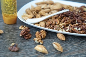 Nuts and  honey. Healthy food for heart