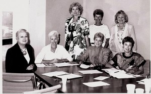 Committee members of the first hospital gala, held in November 1988 to celebrate the hospital's upcoming Golden Jubilee year included (from left, standing) Vicki Beaubien, Mary Herron, Mary Sandermann; (from left seated) Jean Hashman, Sharon Considine, Celia Smith Rennie, Diane McQuilken.